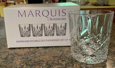 Waterford Marquis Markham Double Old Fashion Set of 4 DOF New In Box Free Ship