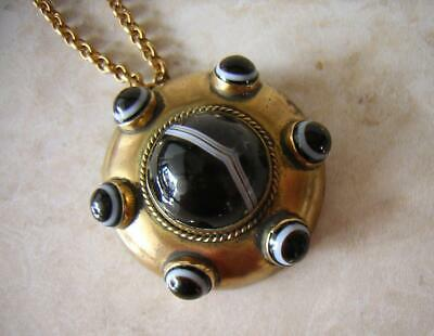 Victorian Banded Agate Pendant Necklace Fine Cluster Of Stones Gold Tone Chain