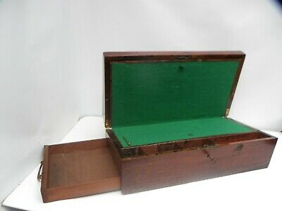 Antique Victorian Mahogany Writing Slope with Key - Secret Side drawer.