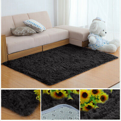 Soft Fluffy Area Rugs Anti-Skid Shaggy Carpet Dining Room Bedroom Floor Mat