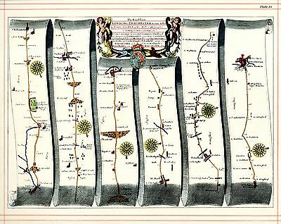 OGILBY Strip Map Stony Stratford Derby Guildford Winchester