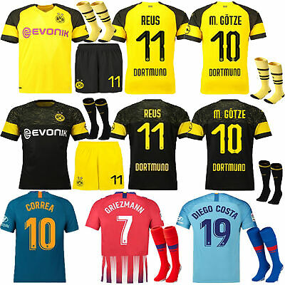 2019 Football Club Home/Away Sports Jersey+Shorts+Socks 3-14 Years Kids Kits