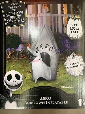 Nightmare Before Christmas 5 Ft Zero Dog Airblown Inflatable Halloween Lights up