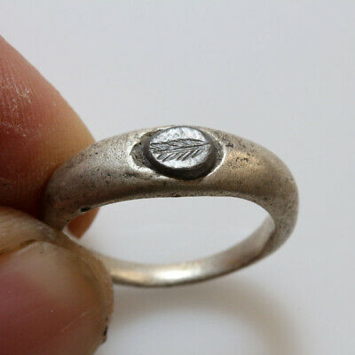 Scarce-Roman Silver Seal Ring With Hematite Seal Stone Circa 100-300 Ad
