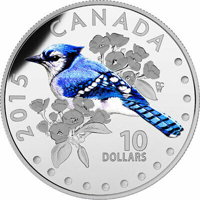 2015 CANADA Blue Jay coin from Songbirds of Canada set - $10 99.99% silver