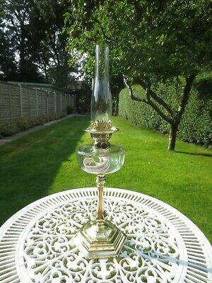 Superb Antique Victorian Young's  Brass And Cut Glass Duplex Oil Lamp