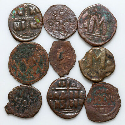 Top Lot Of 9 Uncertain Byzantine Large Bronze Coins