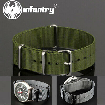 Infantry Watch Band Green Grey Strap Military Army Sports Fabric Canvas Nylon
