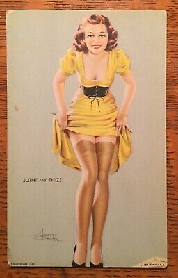 "1940's Mutoscope ""Jutht My Thize"" Glamour / Cheesecake Pin Up Girl Card"