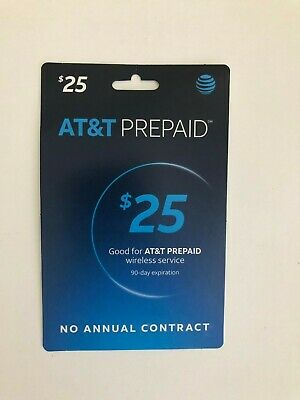 $25 AT&T Refill Reload Airtime GO Phone Card Prepaid Physical Card