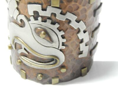 Wide Cuff Aztec Maya Vintage Mexican Sterling Silver + Copper Bracelet Mexico