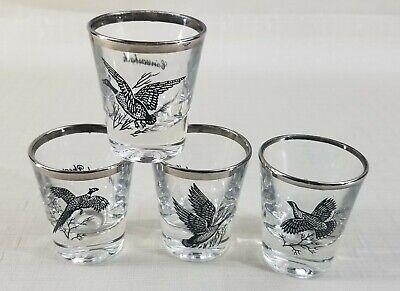 Vintage Federal Glass Sportsman's Rumpus Set of 4 Shot Glasses Game Birds