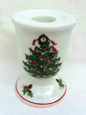 Christmas Tree Holly Holiday White Fine China Candle Stick Holder Made In Japan
