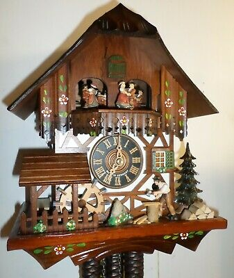 Mint German Hones Animated Waterwheel Woodchopper Music Dancers Cuckoo Clock!