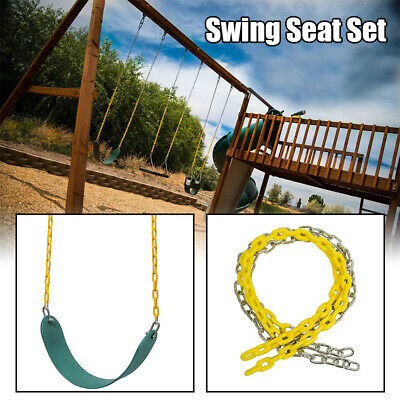 """Swing Seat Heavy Duty w/ 60"""" Iron Chain Plastic Coated Accessories Set For Kids"""