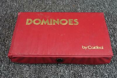 "Vintage Cardinal Package Of 28 Double Six Dominoes 7 3/8"" X 4 1/2"" Red"