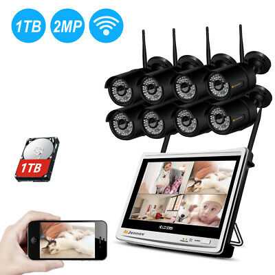 1080P Security Camera System Wireless Outdoor 8CH WIFI 12'' Monitor NVR CCTV IR