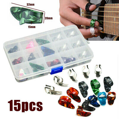 15pcs 5 Thumb &10 Finger Nail Guitar Picks Plectrum Colorful Sets Fit Bass Banjo