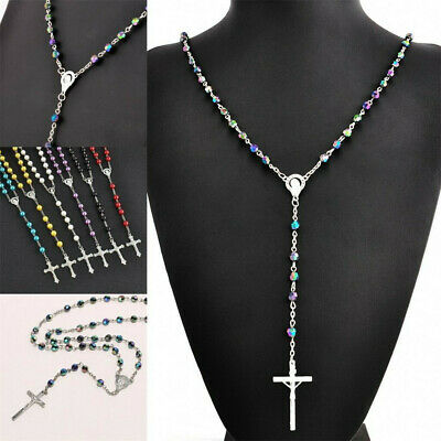 Catholic Stainless Steel heavy Rosary Beads Jesus cross crucifix Necklace Gift