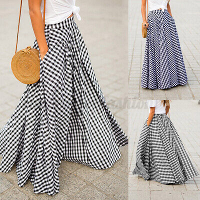ZANZEA Women's High Waist Plaid Check Long Maxi Skirts Full Length Skirts Dress