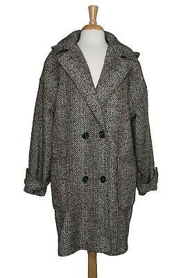 Vintage The Jack Set Woman Heavy Tweed Wool Blend Coat, Size 16 Made in POLAND