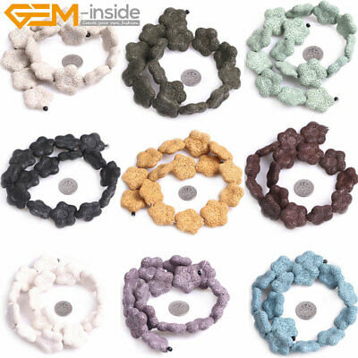BD533 NEW3 4 Star Lava Beads Dyed Blue Natural Lava Rock in Starfish Design
