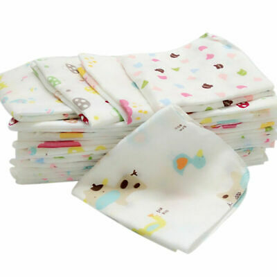 10 pcs Baby Newborn Gauze 100% Cotton Bath Wash Handkerchief Towels Double Gauze