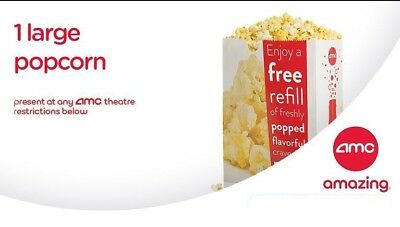 Five (5) AMC Large Popcorn Vouchers- Expires 06/30/2020