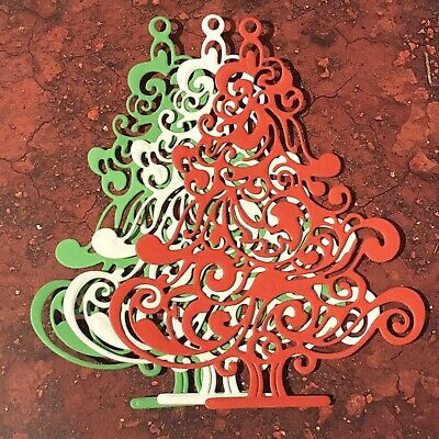 Red, Green & White Detailed Christmas Tree Die Cuts Card Making Scrapbook Craft