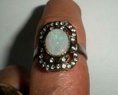 RARE Antique Ring 'Stauer' Design Sterling Silver Opal Clear Stone Art Deco Sz 9