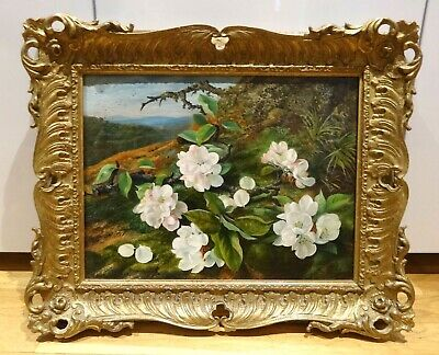 19th Century English Apple Blossom Still Life Flowers by Thomas WALLER Antique
