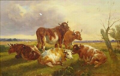 19th Century English Cattle Resting Landscape Thomas Sidney COOPER (1803-1902)