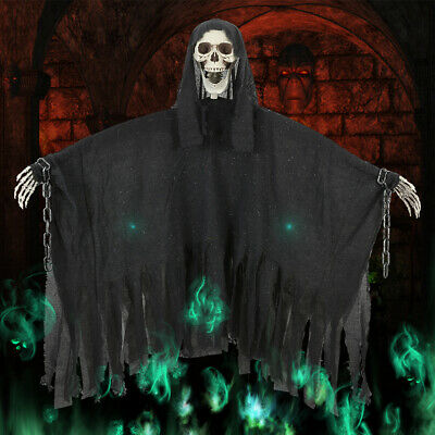 Halloween Decorations-Hell evil Ghost wearing iron Chain Garden Yard Decor Props