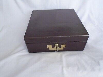 Antique Moroccan Leather Writing Box With Original Contents & Bramah Lock