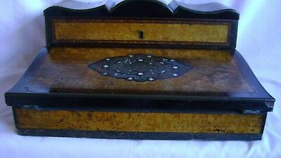Antique Victorian Walnut And Cross-Banded Writing Slope With Boulle Work
