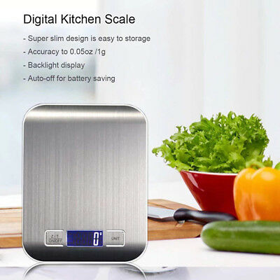 Digital Kitchen Scale LCD Electronic Cooking Food Weighing Scales 11LB/5KG x1 NT