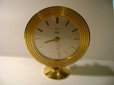 Vintage And Rare Gilt Brass  Lecoultre Desk / Alarm Clock In Good Working Order
