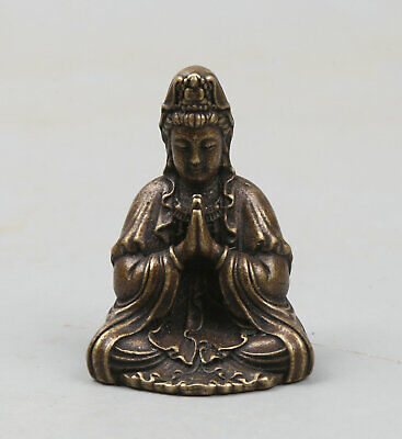41MM64g Collection Curio Chinese Bronze Buddhism sit guanyin Kwan-yin Statue
