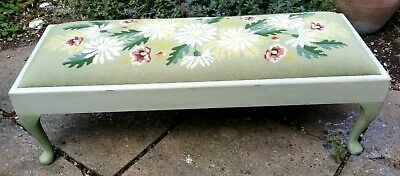 1970'S Tapestry Topped Footstool Painted Shabby Chic Wooden Base