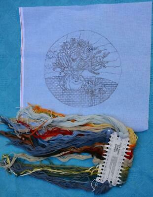 SEMCO Wool Long Stitch/Tapestry Canvas + Wool VASE OF FLOWERS Unstarted