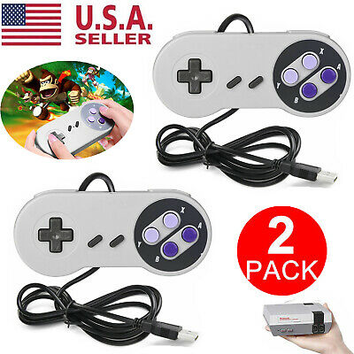 2 Packs USB Wired Game Controller for Super Nintendo SNES Retro Classic Gamepad