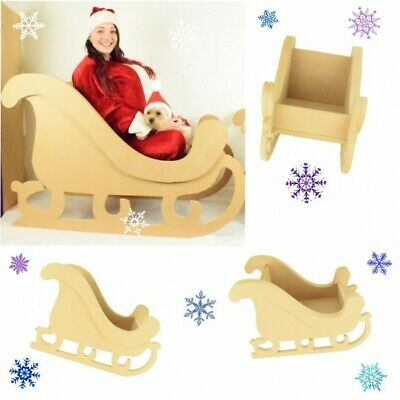Flat packed Christmas Sleigh Wooden MDF Photo Prop Window Shop Retail Display