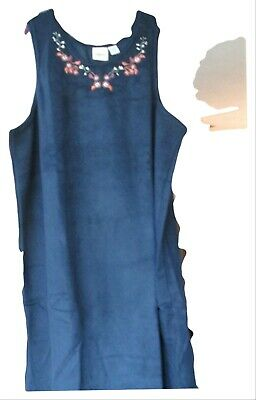 Vermont Country Store Navy Blue Sleeveless Fleece Embroidered Dress 2X