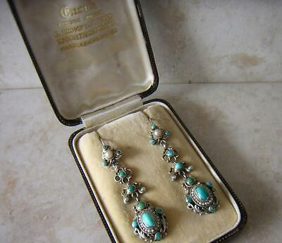 Victorian Arts & Crafts Bohemian Earrings In Box Silver Turquoise & Seed Pearls