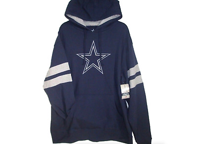 NFL Dallas Cowboys Mens Navy Grey Pullover Hoodie Sweatshirt Jacket