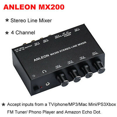 Stereo Line RCA Mixer Four-Channel Accept Inputs from Mac Mini FM Tuner PS3 Xbox