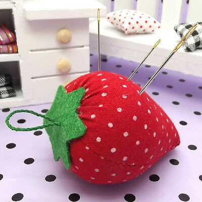 Cute Strawberry Style Pin Cushion Pillow Needles Holder Sewing Craft Kit PKJ