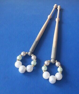 Pair Wood Lace Bobbins. Spliced In Cream & Pale Green. Spangles.