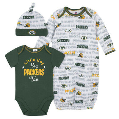Green Bay Packers Baby Onesie Gown & Hat Set 3 Pk - Gerber NFL Newborn 3-6m