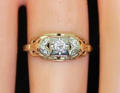 NICE Antique Estate 14K Gold .10 Ct Diamond Sol W/ Accents Ring Size 5 c.1920's